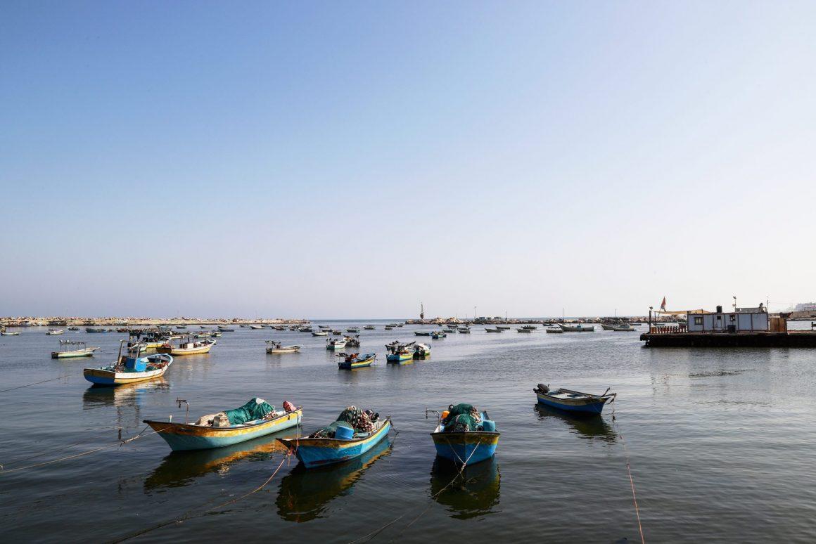 Fishing boats off the coast of Gaza (2019). Photo by Asmaa Elkhaldi