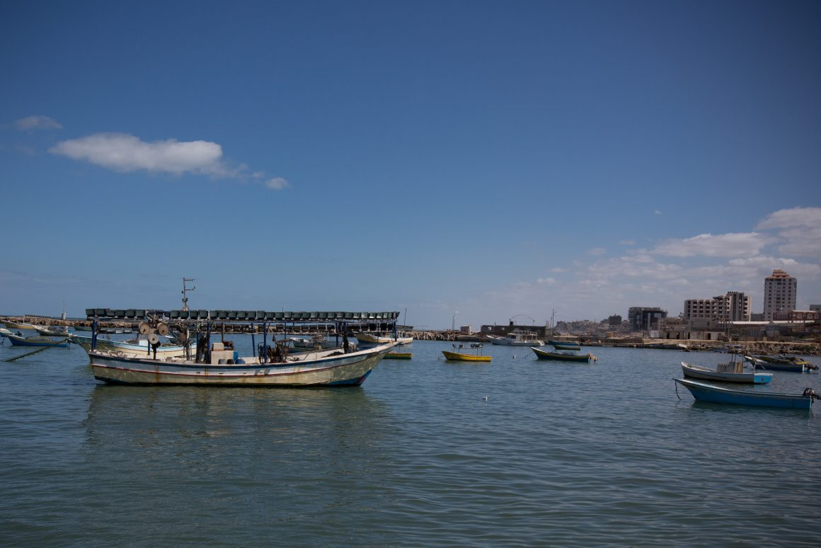 Fishing boats off the coast of Gaza. Photo by Eman Mohammed
