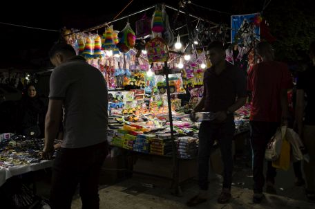 A lit up toy stand in Gaza. Photo by Gisha.